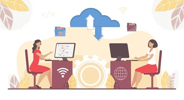 Femme affaires, travail, nuage, logiciel, ordinateur