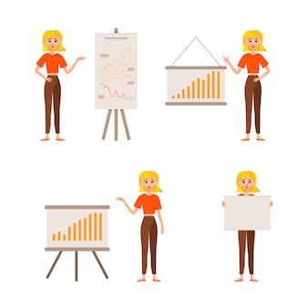 Femme d'affaires travaillant le design des personnages. la fille montre sur la carte de développement. 12 poses illustration vectorielle.