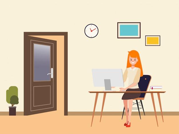 Femme d'affaires travaillant sur un ordinateur portable.