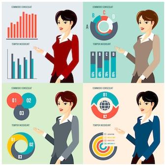 Femme d'affaires de vecteur présentant les progrès de l'entreprise avec des diagrammes et des graphiques