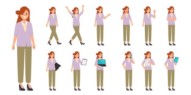 Femme d'affaires en vêtements habillés avec pose de caractère de routine de travail