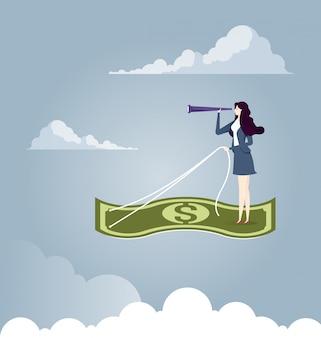 Femme affaires, voler, avion, tapis, argent