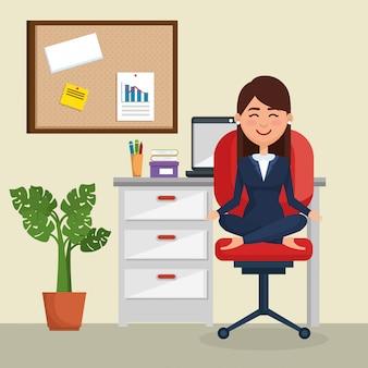 Femme affaires, yoga, chaise bureau, bureau