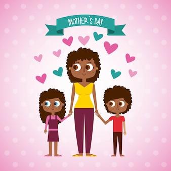 Femme afraomerican mignon et fête des mères des enfants