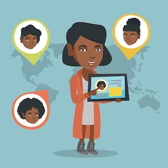 Femme africaine, tenue, tablette, à, réseau social