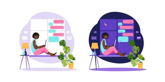 Femme afro-américaine assise avec ordinateur portable. travailler sur un ordinateur. freelance, éducation en ligne ou concept de médias sociaux. freelance ou étudiant concept. illustration moderne de style plat.