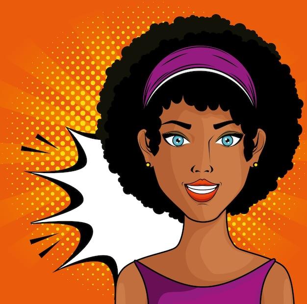 Femme afro américaine bande dessinée comme icône pop art sur fond orange avec des points jaunes vecteur illustrat