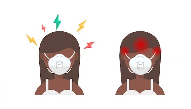 Femme afro-américaine en masque médical de protection a un mal de tête isolé.