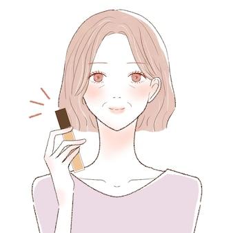 Femme d'âge moyen avec anti-cernes. sur un fond blanc.