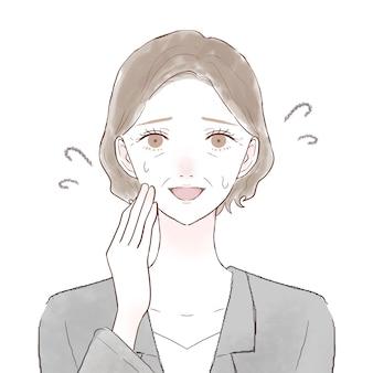 Femme d'âge moyen en costume de rire terne. sur un fond blanc.