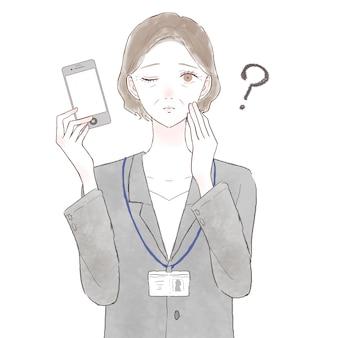 Femme d'âge moyen en costume avec un smartphone et ayant des doutes. sur fond blanc.