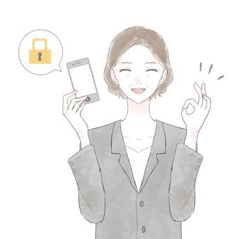 Femme d'âge moyen en costume avec un smartphone avec mesures de sécurité. sur fond blanc.