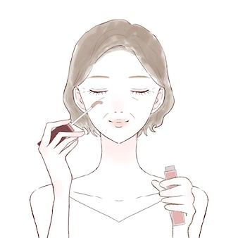 Une femme d'âge moyen qui grandit avec du sérum pour cils appliqué sur ses cils. sur un fond blanc.