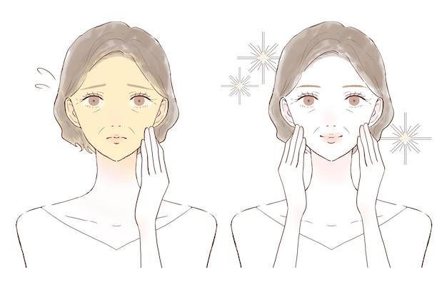 Femme d'âge moyen souffrant de peau terne. avant et après. sur un fond blanc.