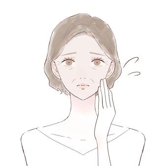 Femme d'âge moyen souffrant de peau terne. sur un fond blanc.