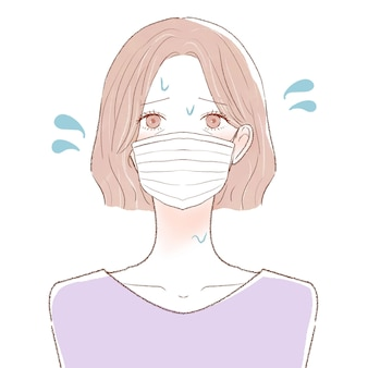 Femme d'âge moyen souffrant de vapeur en portant un masque. sur un fond blanc.