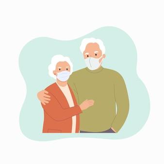 Femme âgée et homme en masque isolé