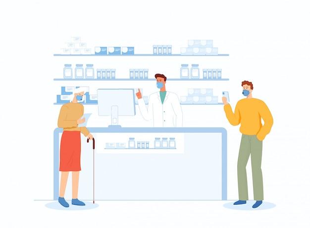 Une femme âgée et un jeune homme achètent des médicaments dans une pharmacie.