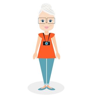 Femme âgée de personnage de dessin animé, une fille âgée. grand-mère sourit lave une assiette