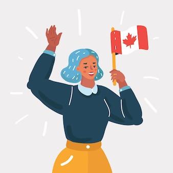 Femme agitant le drapeau de la fête du canada