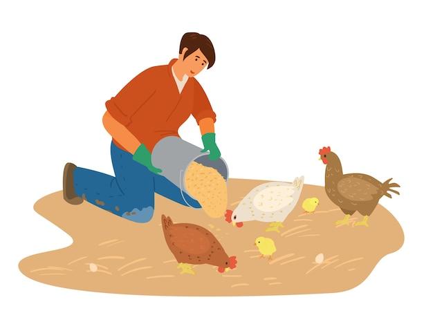 Femme agricultrice travaillant nourrit le poulet avec illustration de gains.