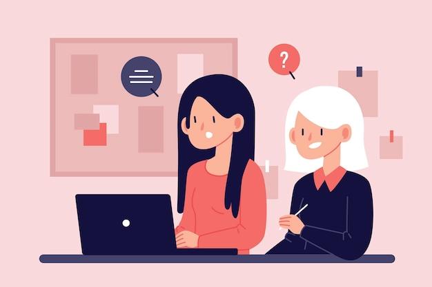 Femme aidant un stagiaire à s'adapter