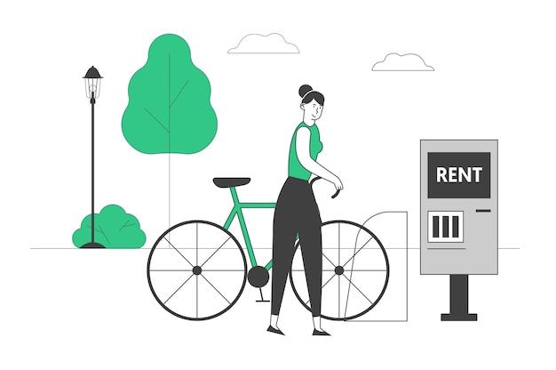 Femme à l'aide du service de location de vélos dans la grande ville