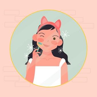 Femme à l'aide de rouleau de jade illustré