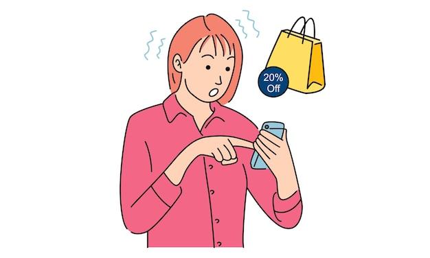 Femme à l'aide de smartphone pour faire du shopping en ligne