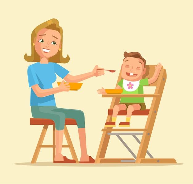 Femme, alimentation, bébé, mère, alimentation, bébé, plat, dessin animé, illustration