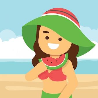 Femme aller voyager pendant les vacances d'été, fille manger une morsure de melon d'eau fraîche avec summer beach
