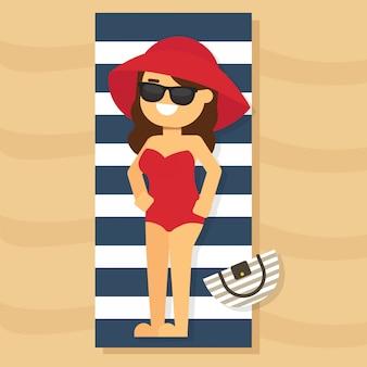 Femme aller voyager pendant les vacances d'été, jolie robe, tenue et accessoires. collection d'été