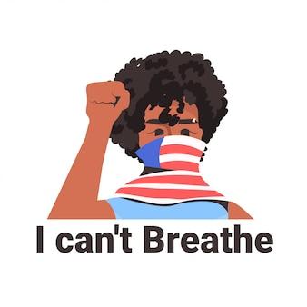 Femme américaine africaine, dans, écharpe, à, poing levé, contre, discrimination raciale, noir, vies, matière, concept
