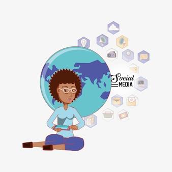 Femme Américaine Afro, Assis à L'aide De Téléphone Vecteur Premium