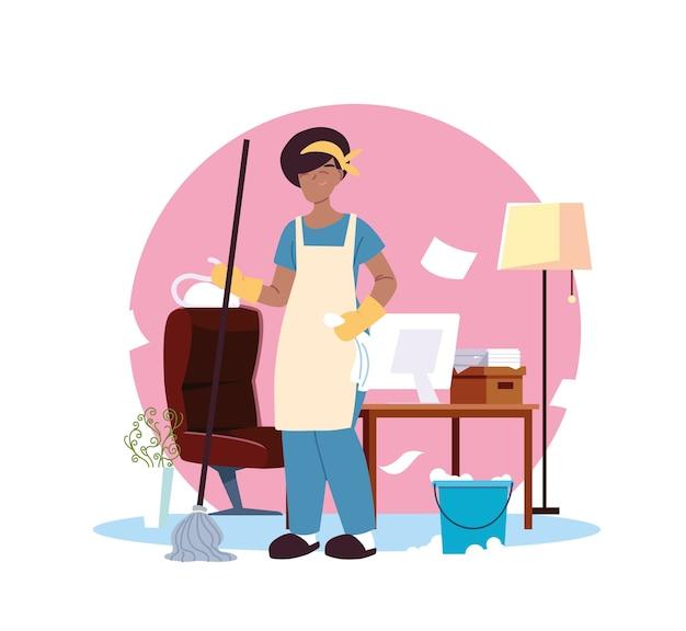 Femme américaine en service nettoyage illustration desing