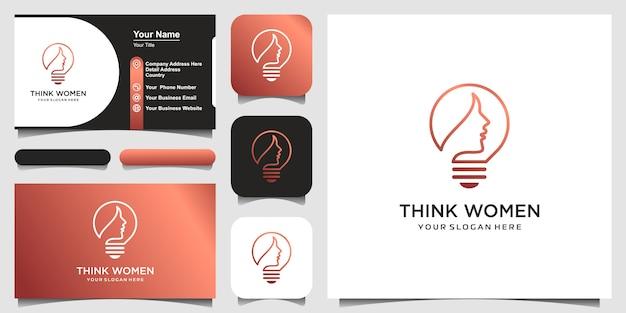 Femme en ampoule avec logo d'art en ligne et conception de carte de visite