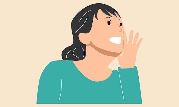 Femme appelant quelqu'un en criant fort