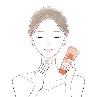 Femme appliquant une crème solaire au cou. sur un fond blanc.