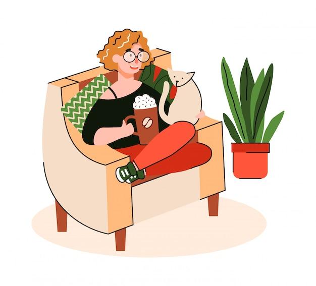 Femme appréciant le café dans une chaise confortable, illustration de dessin animé isolée.