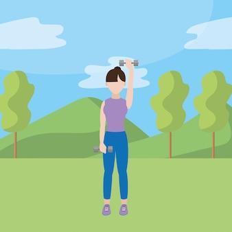 Femme apte faisant de l'exercice