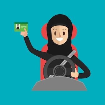 Femme arabe avec une ceinture de sécurité conduisant une voiture sur le chemin.