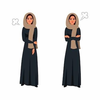 Une femme arabe exprimant protestation et colère se croisa les bras. bande dessinée plate.