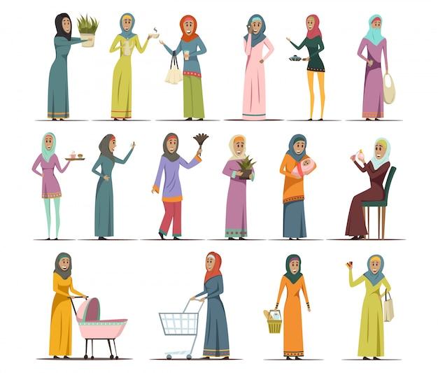 Femme arabe icons set