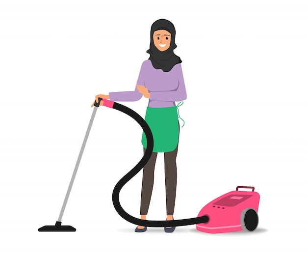 Femme arabe musulmane à l'aide d'un aspirateur sur le personnage de plancher.