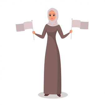 Femme arabe présentant des drapeaux à deux mains