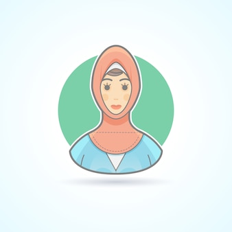 Femme arabe en tissu national traditionnel, icône musulmane. illustration d'avatar et de personne. style souligné de couleur.