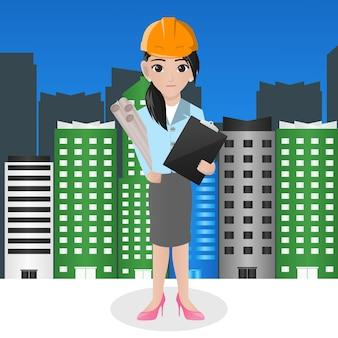 Femme architecte tenant blueprint