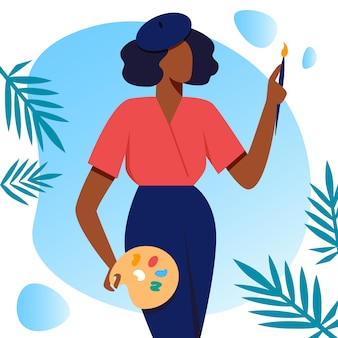 Femme artiste tenir acrylique peinture palette et pinceau