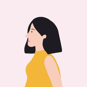 Femme asiatique forte en vecteur de profil