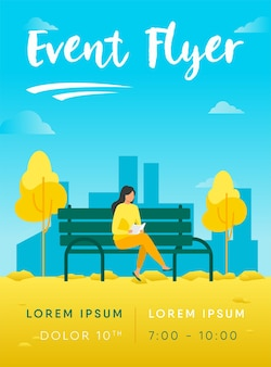 Femme assise sur un banc et le modèle de flyer de livre de lecture